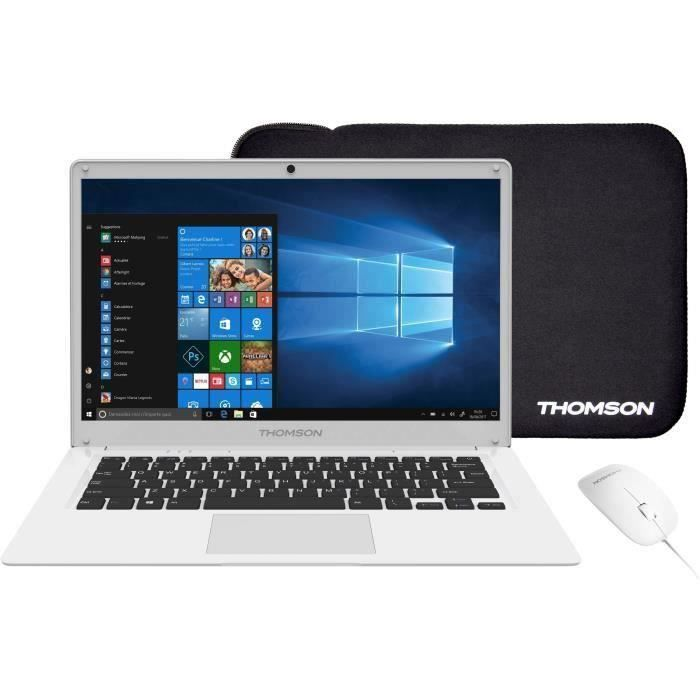 THOMSON PC Portable + Souris + Sacoche - TH14WH64MS - 14,1- HD - INTEL Atom E8000 - RAM 4Go - Stockage 64Go SSD - Windows 10