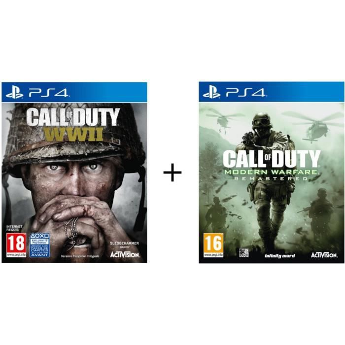 Pack de 2 Jeux PS4 : Call of Duty World War II + Call of Duty Modern Warfare Remastered