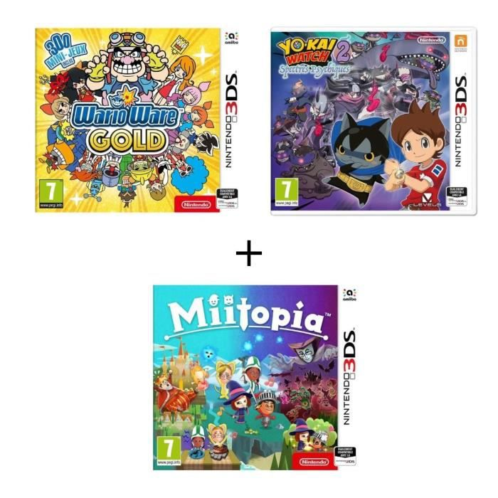 Pack 3 Jeux 3DS WarioWare Gold + Miitopia + Yo-Kai Watch 2