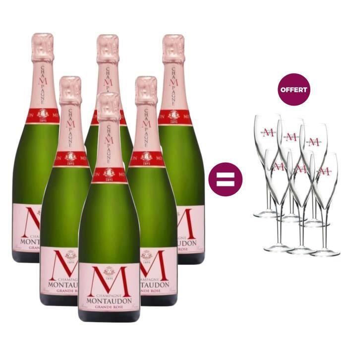 6 Champagnes Montaudon Grande Rose = 6 flûtes offertes