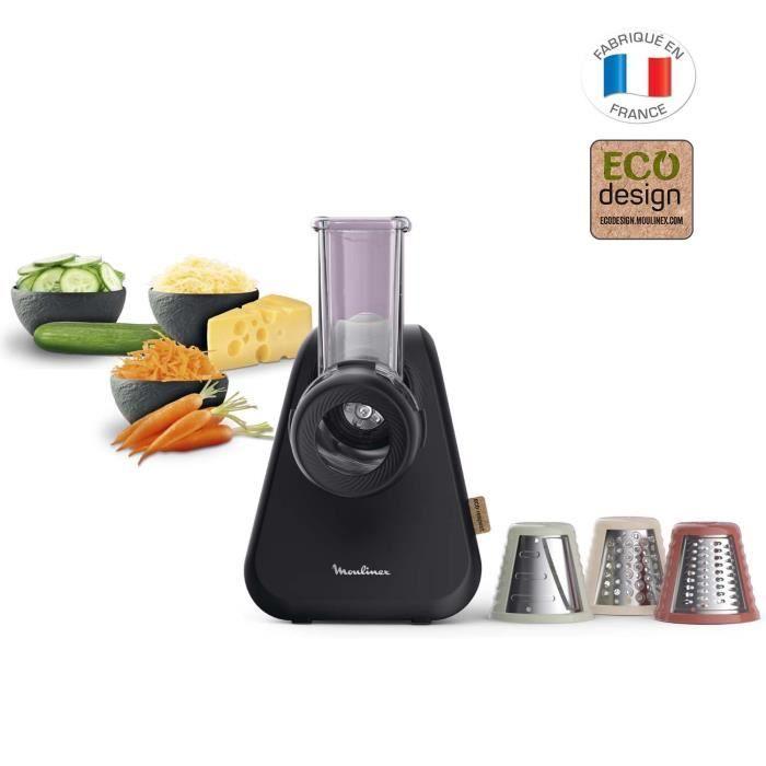 MOULINEX DJ77EN10 Eco Respect Coupe-légumes, 3 cônes (éminceur, râpe, mandoline), Design écologique, Fabriqué en France