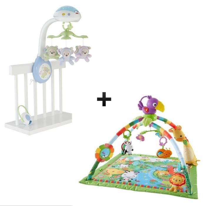 FISHER-PRICE Mobile Doux Rêves Papillons + Tapis de la Jungle