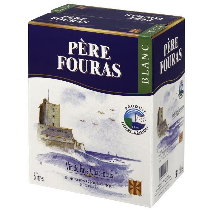 BIB Père Fouras Vin de Pays Charentais - Vin blanc du Sud-Ouest - 5 L
