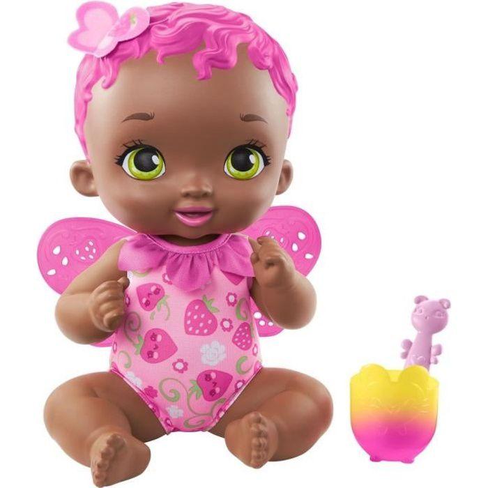 My Garden Baby - Bébé Papillon Fraise Se Régale, 30 cm, senteur fraise, avec cuillère et gobelet - Poupée / Poupon - Dès 2 ans