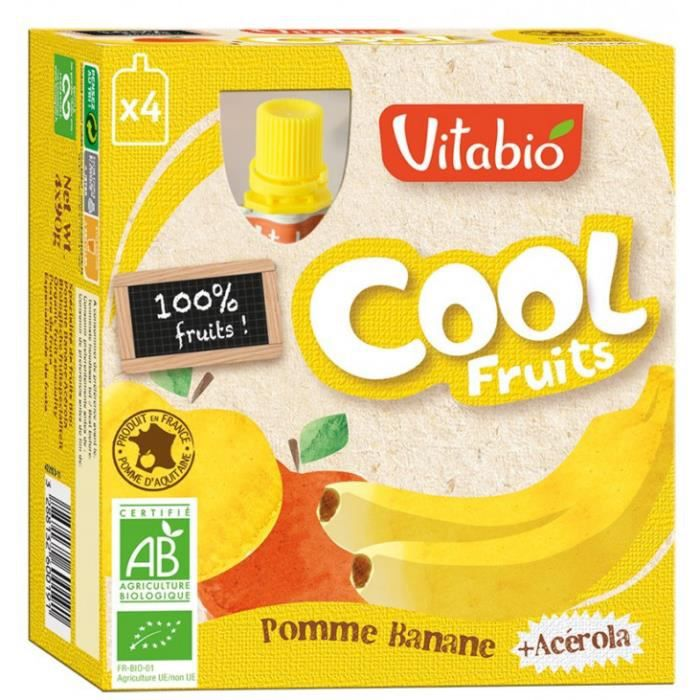 Compote cool fruits 4x90gr pomme, banane 360gr
