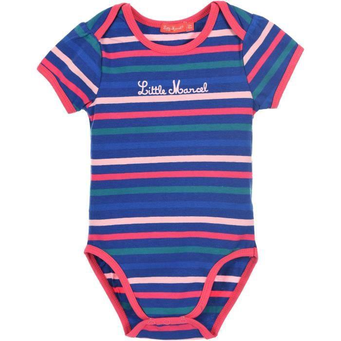LITTLE MARCEL Body manches courtes Fille 95% Coton/5% Elasthanne Marine