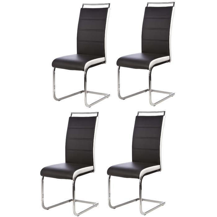 DYLAN Lot de 4 chaises salon noir blanc