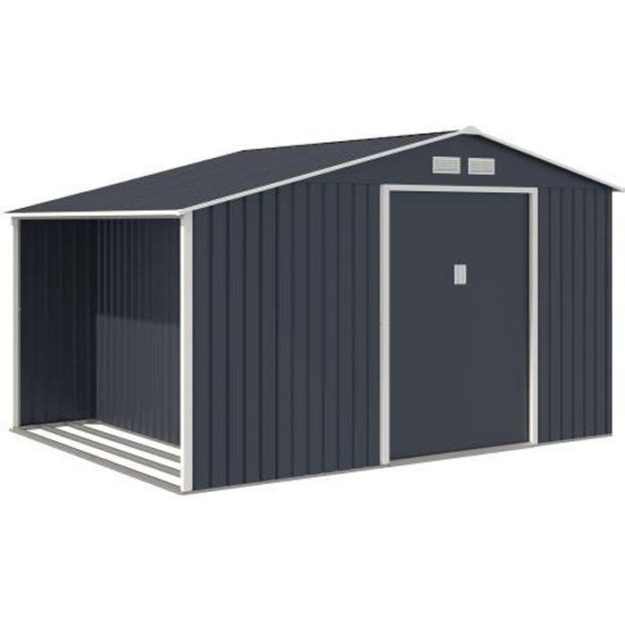 Abri de jardin acier 8,72 m2. avec kit d'ancrage inclus