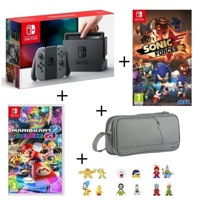 console nintendo switch n on sonic forces mario kart 8 deluxe pochette pack 3 figurines. Black Bedroom Furniture Sets. Home Design Ideas