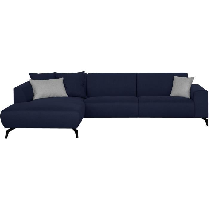 Canapé d'angle gauche - Pieds métal - Tissu Bleu - L 290 x P 93/167 x H 74 cm - BUBBLE