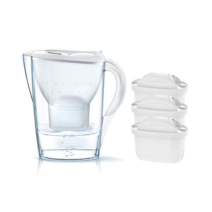 Pack BRITA Carafe filtrante MARELLA Blanc + 3 Cartouches de rechange