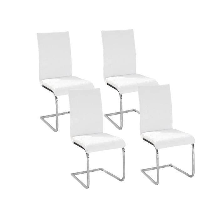 LEA Lot de 4 Chaises de salle à manger blanches