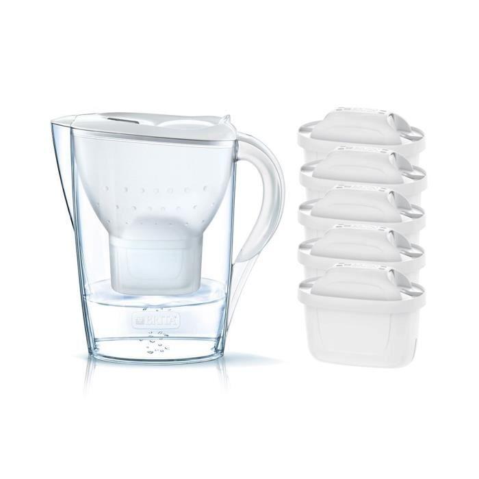 Pack BRITA Carafe filtrante MARELLA Blanc + 5 Cartouches de rechange