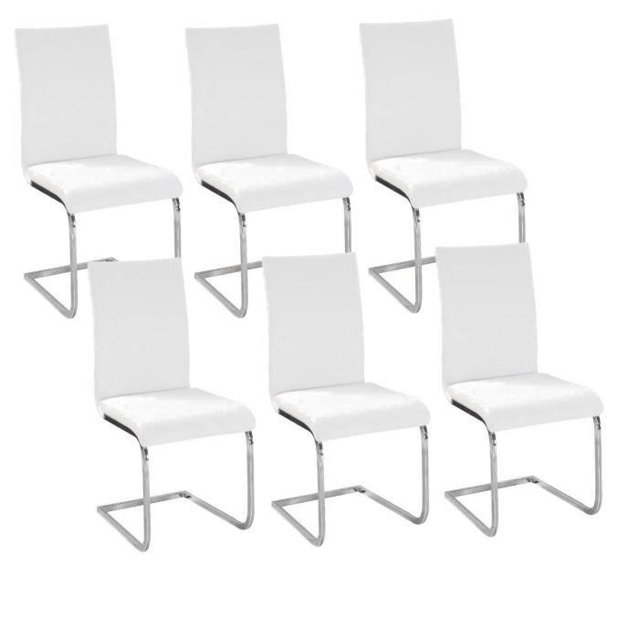 LEA Lot de 6 Chaises de salle à manger blanches