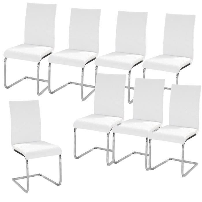 LEA Lot de 8 Chaises de salle à manger blanches