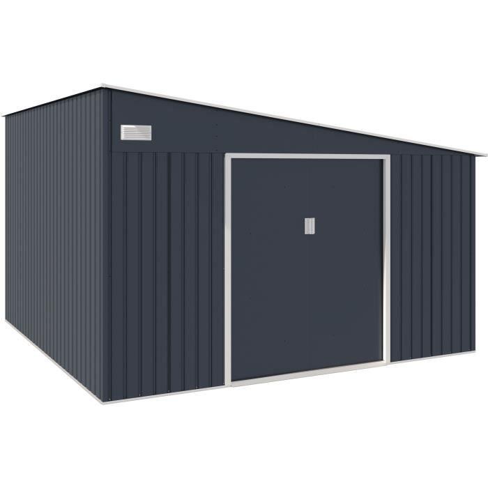 Abri de jardin acier 11,01 m2. avec kit d'ancrage inclus