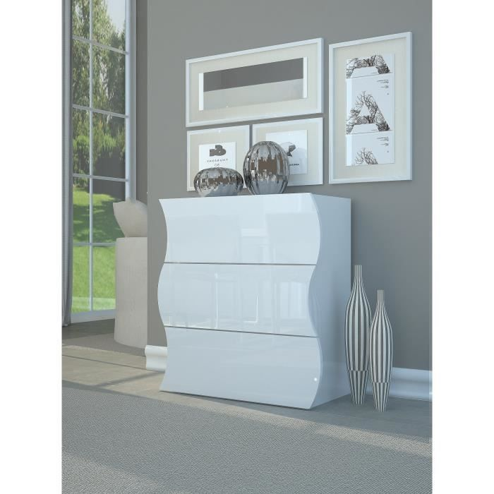 ONDA Commode contemporain - Laqué blanc brillant - L 77 cm