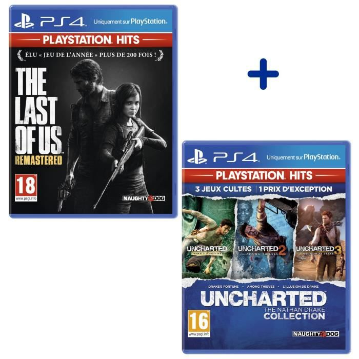 Pack 2 Jeux PS4 PlayStation Hits : The Last Of Us Remastered + Uncharted The Nathan Drake Collection