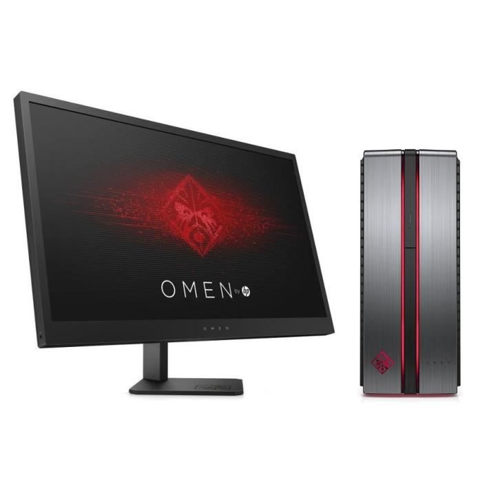 HP PC de Bureau Omen 870-237nf - RAM 8Go - Core i5-7400 - NVIDIA GeForce GTX 1050 - Stockage 128Go SSD + 1To + Ecran Omen 25\