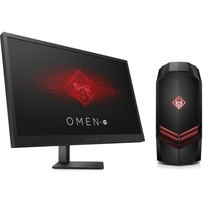 HP PC de Bureau Gamer Omen 880084nf - RAM 8Go - AMD RYZEN 5 1400 - NVIDIA GTX 1050 - Stockage 1To + Ecran Omen 25\