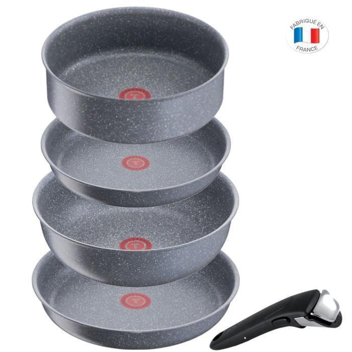 TEFAL Batterie de cuisine 5 pièces - effet pierre - Tous feux dont induction - Made in France