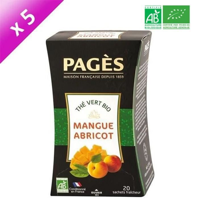 [LOT DE 5] PAGES Thé Vert Mangue, Abricot - Bio