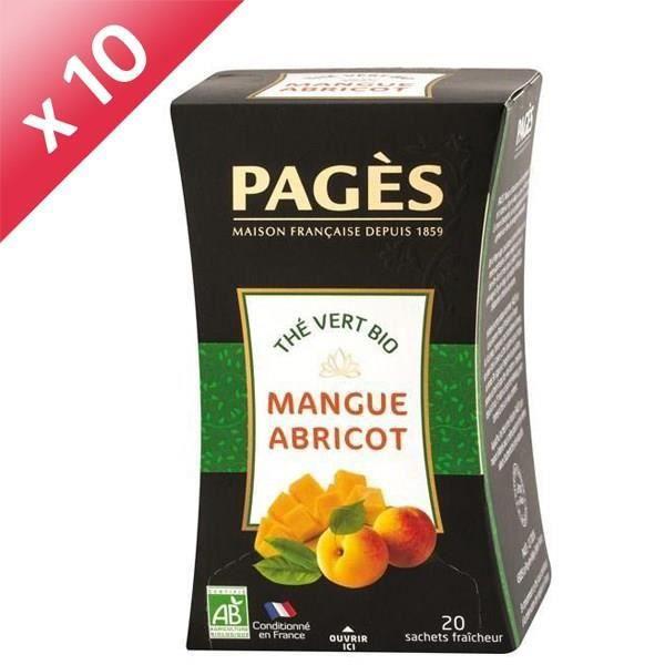 [LOT DE 10] PAGES Thé Vert Mangue, Abricot - Bio