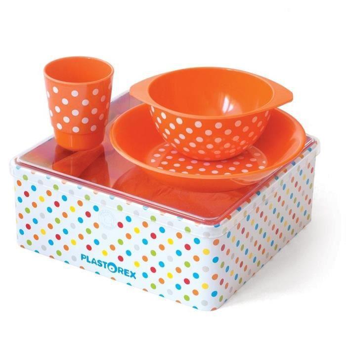MILL'O BÉBÉ Coffret Repas mélamine orange décor Petits Pois Blancs (assiette, bol, gobelet) sous boîte métallique décorée