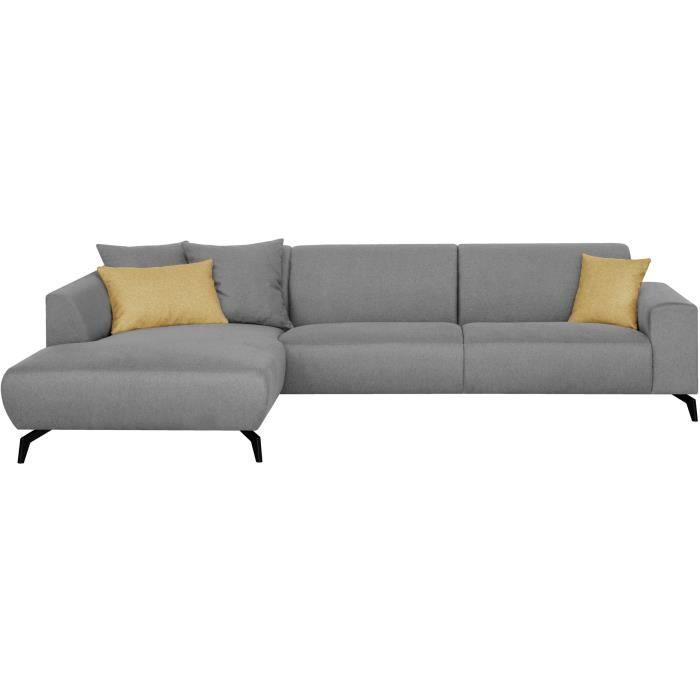 Canapé d'angle gauche - Pieds métal - Tissu Gris - L 290 x P 93/167 x H 74 cm - BUBBLE