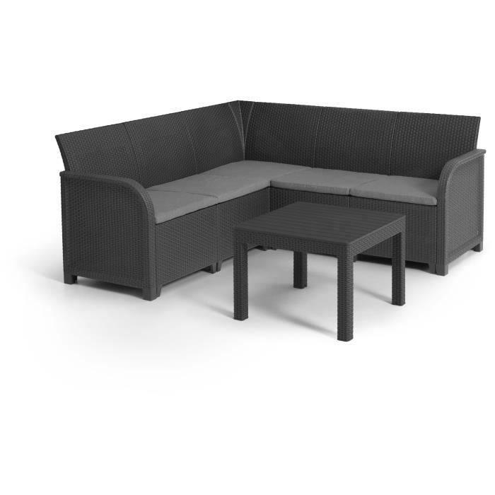 ALLIBERT by KETER - Canap' d'angle SanRemo 5 places imitation rotin tressé avec table basse - gris graphite