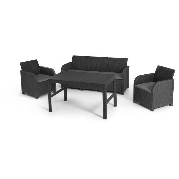 Salon de jardin imitation en rotin tressé ALLIBERT by KETER - 5 places - Table basse 2 positions - Gris graphite - SANREMO LYON