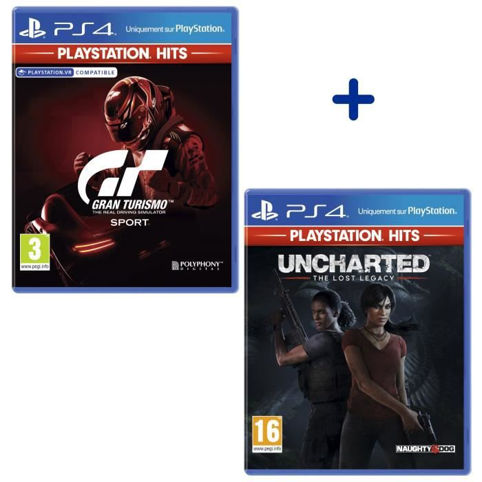Pack 2 Jeux PS4 PlayStation Hits : Uncharted: The Lost Legacy + GT Sport