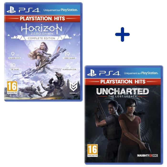 Pack 2 Jeux PS4 PlayStation Hits : Horizon Zero Dawn Complete Edition + Uncharted: The Lost Legacy