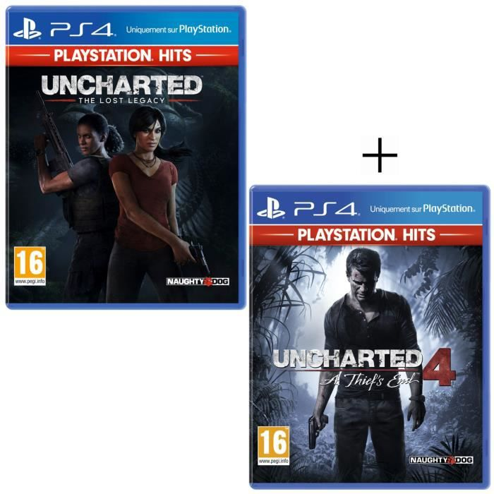 Pack 2 Jeux PS4 PlayStation Hits : Uncharted 4: A Thief's End + Uncharted: The Lost Legacy