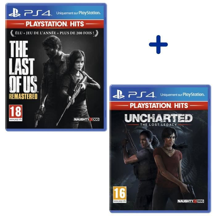 Pack 2 Jeux PS4 PlayStation Hits : The Last Of Us Remastered + Uncharted Lost Legacy