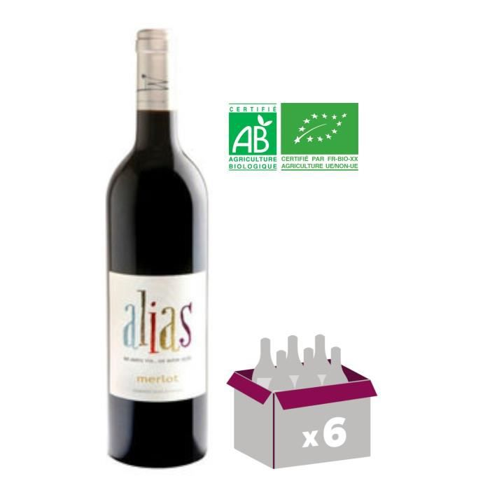 Alias 2015 Merlot - Vin de France rouge BIO x6
