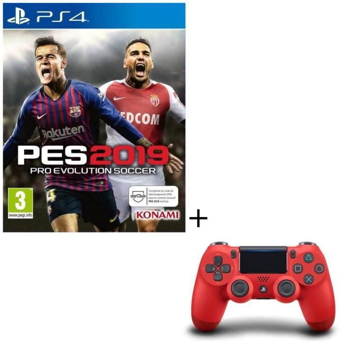 Pack PS4 : PES 2019 + Manette DualShock 4 Rouge V2