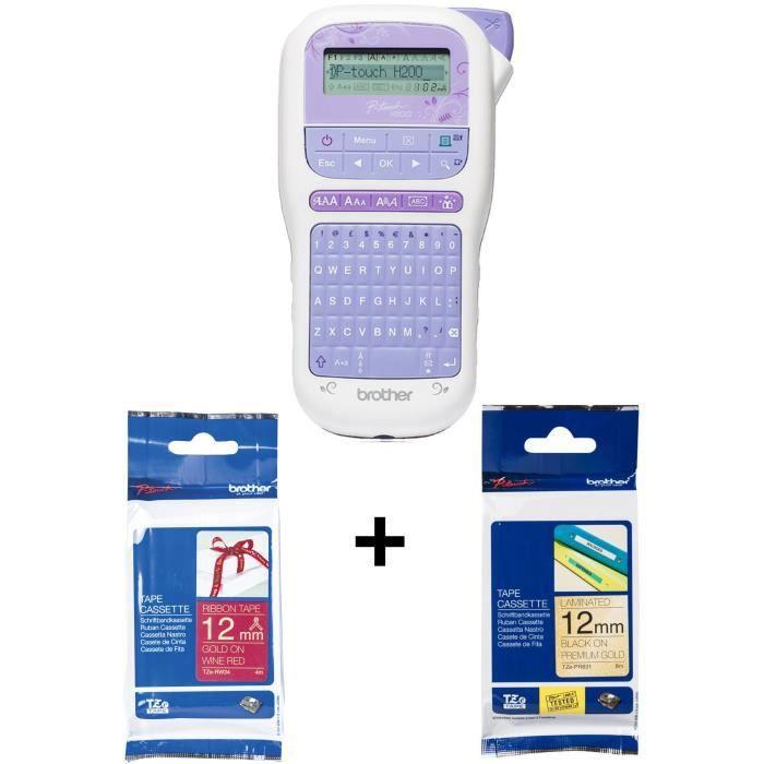 Pack BROTHER : Etiqueteuse portable et ludique PT-H200 - Transfert thermique - Monochrome + Ruban Tze-PR831 + Ruban TZE-RW34