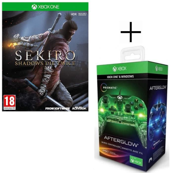 SEKIRO: Shadows Die Twice Jeu Xbox One + Manette filaire PDP Afterglow Prismatic V2