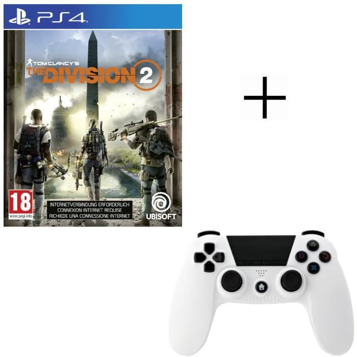 The Division 2 Jeu PS4 + Manette Under Control Bluetooth blanche