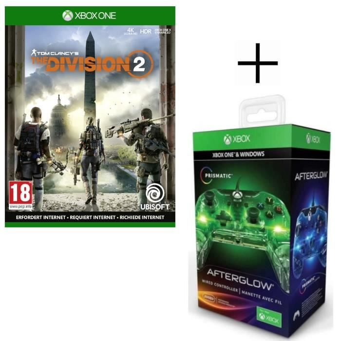 The Division 2 Jeu Xbox One + Manette filaire PDP Afterglow Prismatic V2