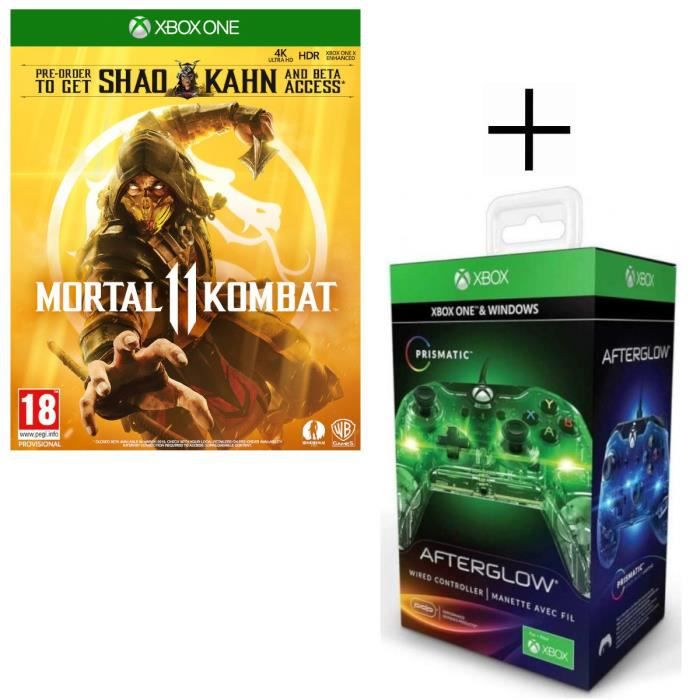 Mortal Kombat 11 Jeu Xbox One + Manette filaire PDP Afterglow Prismatic V2