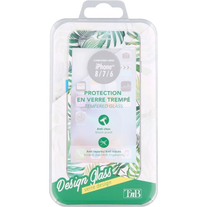 T'nB TGIPH8JUN Protection verre trempé + accessoires Transparent/Bords design Jungle
