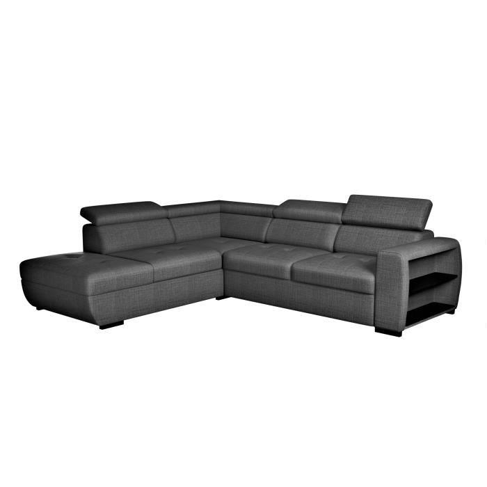 Canapé d'angle convertible reversible + Coffre - Tissu gris anthracite - L 273 x P 228 x H 76/91 cm - ARNOLD