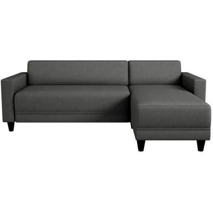 Canapé d'angle réversible 3 places - Tissu gris anthracite - Contemporain - L 197 x P 138 cm - BOB