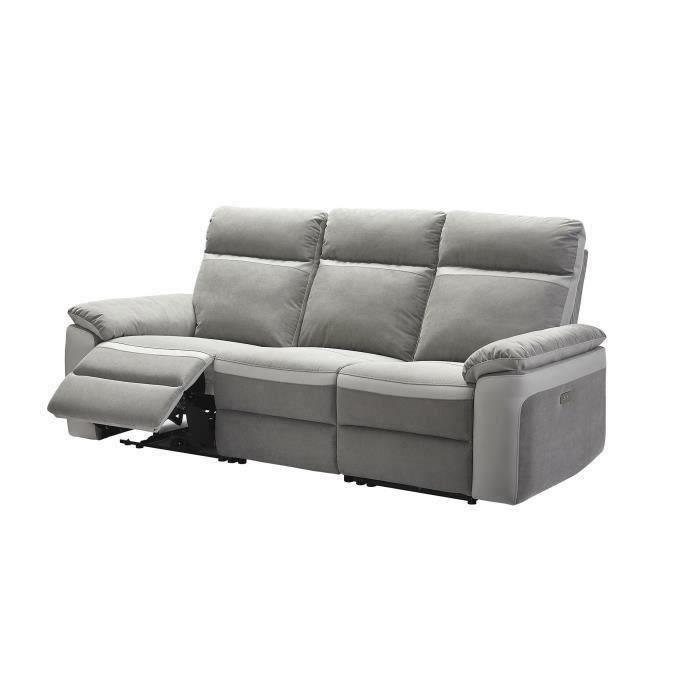 Canapé relaxation électrique - 3 places - Tissu gris et anthracite - L 215 x P 93 x H 99 cm - SANTOS