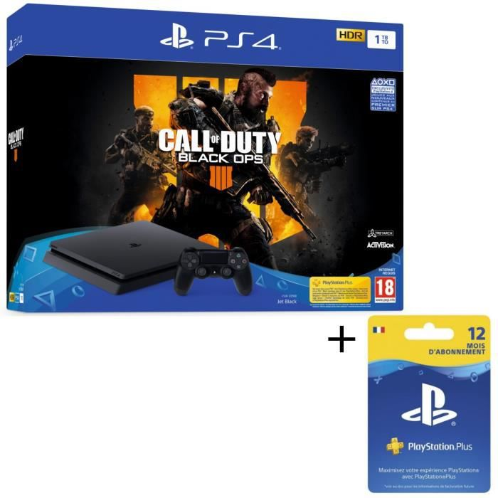 Pack PS4 1 To Noire + Call of Duty Black Ops 4 + Abonnement Playstation Plus 12 Mois