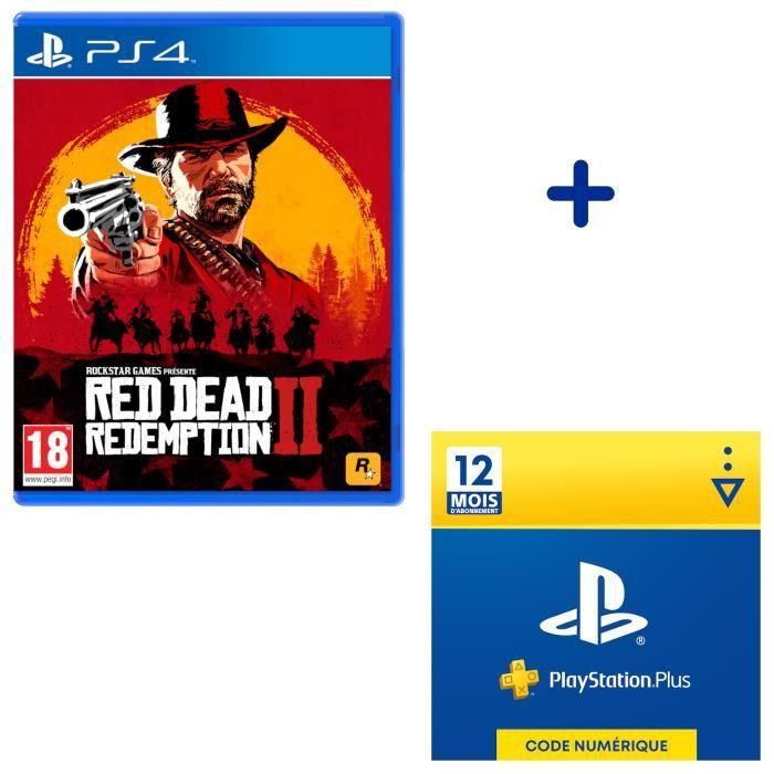 Pack PlayStation : Red Dead Redemption 2 Jeu PS4 + Abonnement PlayStation Plus 12 Mois