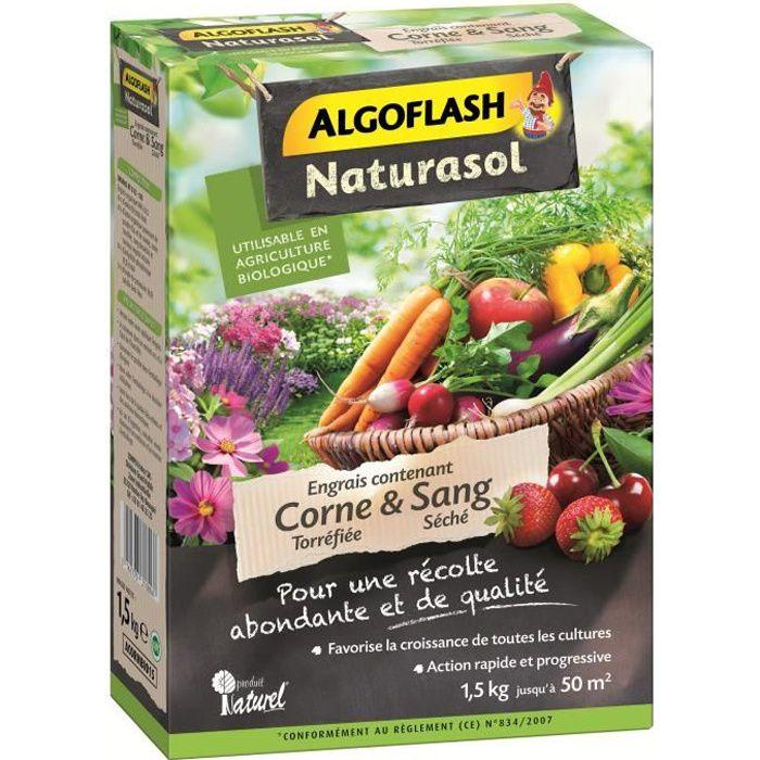 ALGOFLASH NATURASOL - Engrais corne torréfiée et sang séché 1.5kg