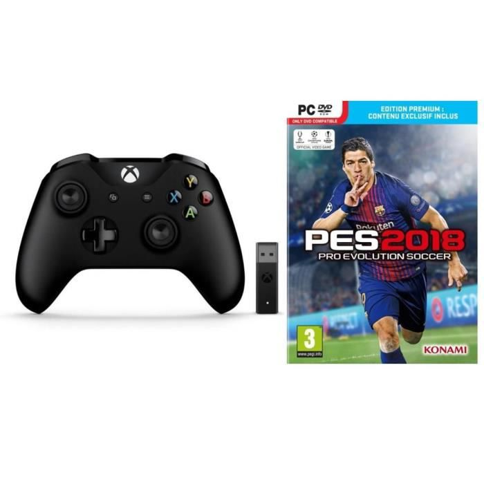 Manette Xbox One + Adaptateur sans fil pour Windows + PES 2018 Premium D1 Edition PC